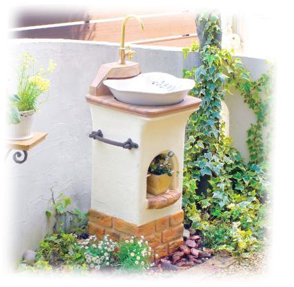 スタンドウォッシュ リリー送料代引き無料の格安ディーズガーデン おしゃれ 立水栓 水栓柱 かわいい 軽くて丈夫なFRP製 プロバンス風 南欧風 レンガ調 洋風のお庭にぴったり エクステリア