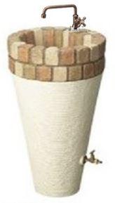 【立水栓ユニット】立水栓ユニット コーンタイプ塗り壁コテ引き模様専用蛇口(ロング水栓 B)+補助蛇口(G)付◆送料・き手数料無料
