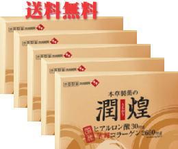 【送料無料】【本草製薬】飲むヒアルロン酸&華舞コラーゲン♪潤煌(うるおう) 2g×60包×5個セット