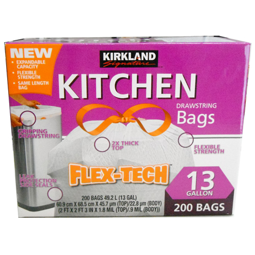 贈与 使いやすいと大好評 カークランド ひも付きポリ袋 49.2L レビューを書けば送料当店負担 200袋入 レジ01089787 KIRKLAND ごみ袋 DRAWSTRING SIGNATURE ゴミ袋 KITCHEN ひもつき Bags