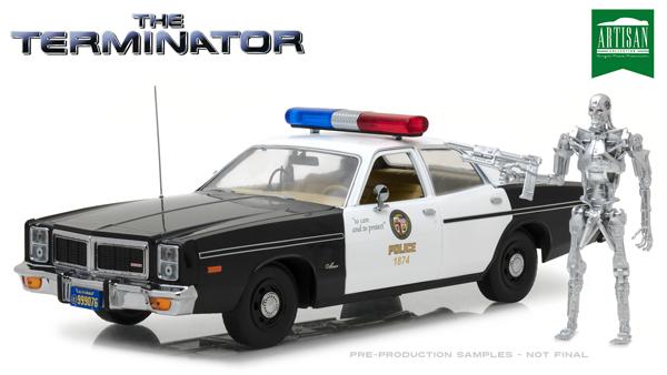 The Terminator Dodge 1977 Monaco Police with Figure 1/18 緑LIGHT 17593円【ミニカー 映画 HOLLYWOOD ターミネーター ダッジ モナコ アメ車 ダイキャストカー 】【コンビニ受取対応商品】