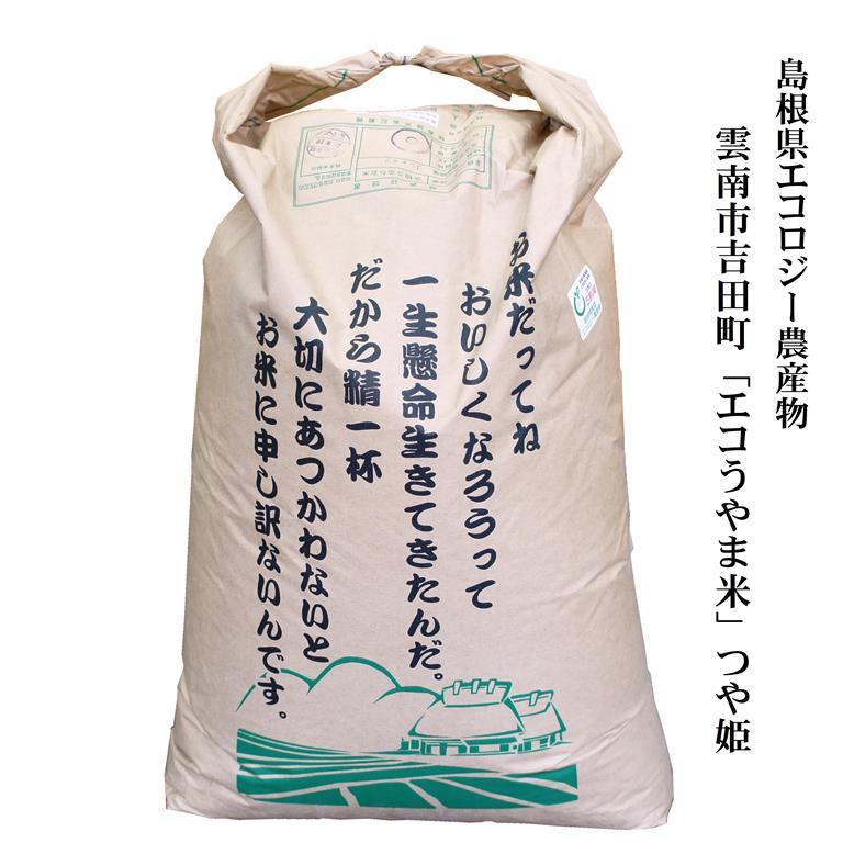 神話の里、島根県雲南地域の優良米!標高が高く、きれいな水、澄んだ空気、そして米を大切に育てる人によって美味しいお米ができました! 令和元年産 島根県雲南市吉田町「エコうやま米」つや姫30kg玄米原袋 島根県エコロジー農産物(農薬・化学肥料5割以下)送料無料