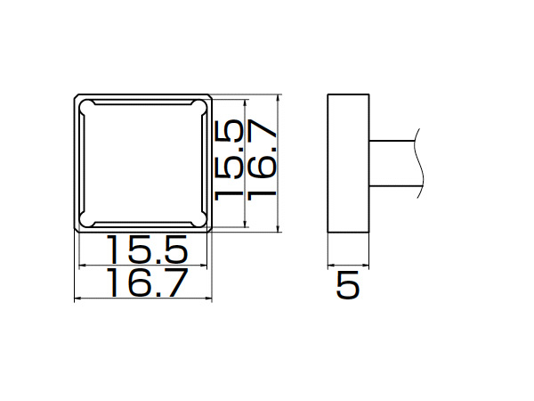 白光(HAKKO) はんだこてFM-2027/2028用こて先 クワッド 15.5×15.5 T12-1207