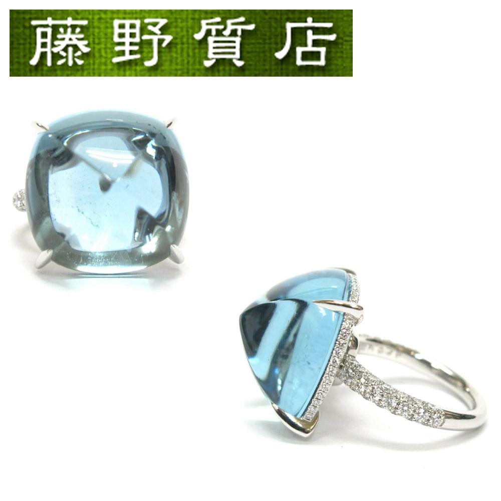 【中古】ギメル Gimel アクアマリン リング 指輪 #13(約 13号 ) プラチナ 950 ダイヤモンド (1.00ct) アクアマリン(26.617ct) 鑑別書 8727