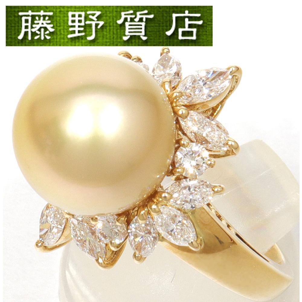 【中古】【新品仕上げ済】希少 ミキモト MIKIMOTO ゴールデンパール リング 指輪 11号 パール 約12.1mm K18イエローゴールド ダイヤ 1.64ct 鑑定書 8557
