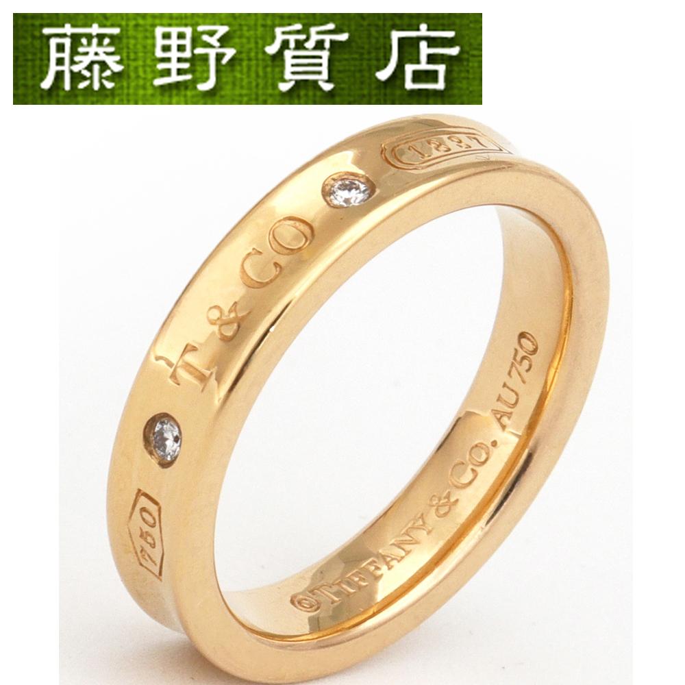 【中古】ティファニー TIFFANY 1837 ナローダイヤリング 約11号 K18PG ピンクゴールド×ダイヤモンド(約0.02ct) 8563