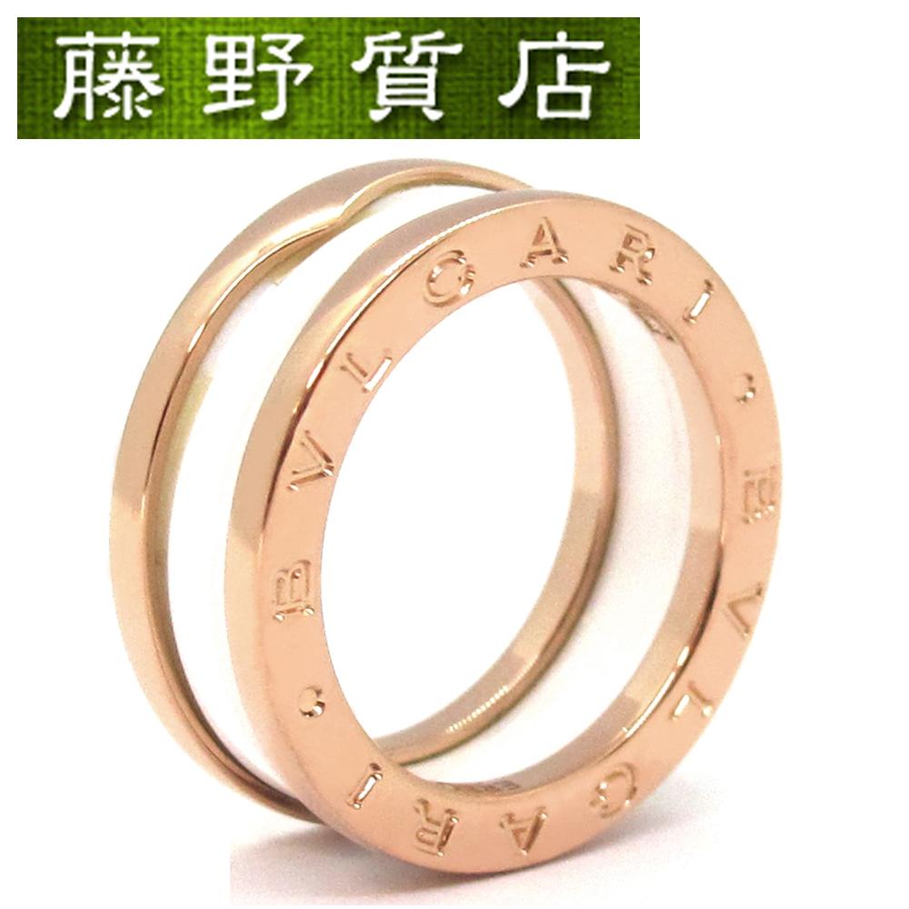 【中古】【美品】ブルガリ BVLGARI B-ZERO1 ビーゼロワン リング 指輪 K18 ピンクゴールド ホワイト セラミック #53 保証書 8672