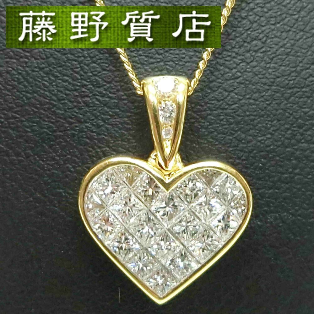 【中古】【美品】ティファニー TIFFANY ミステリーハート ダイヤ ネックレス K18 イエローゴールド ダイヤモンド  8675