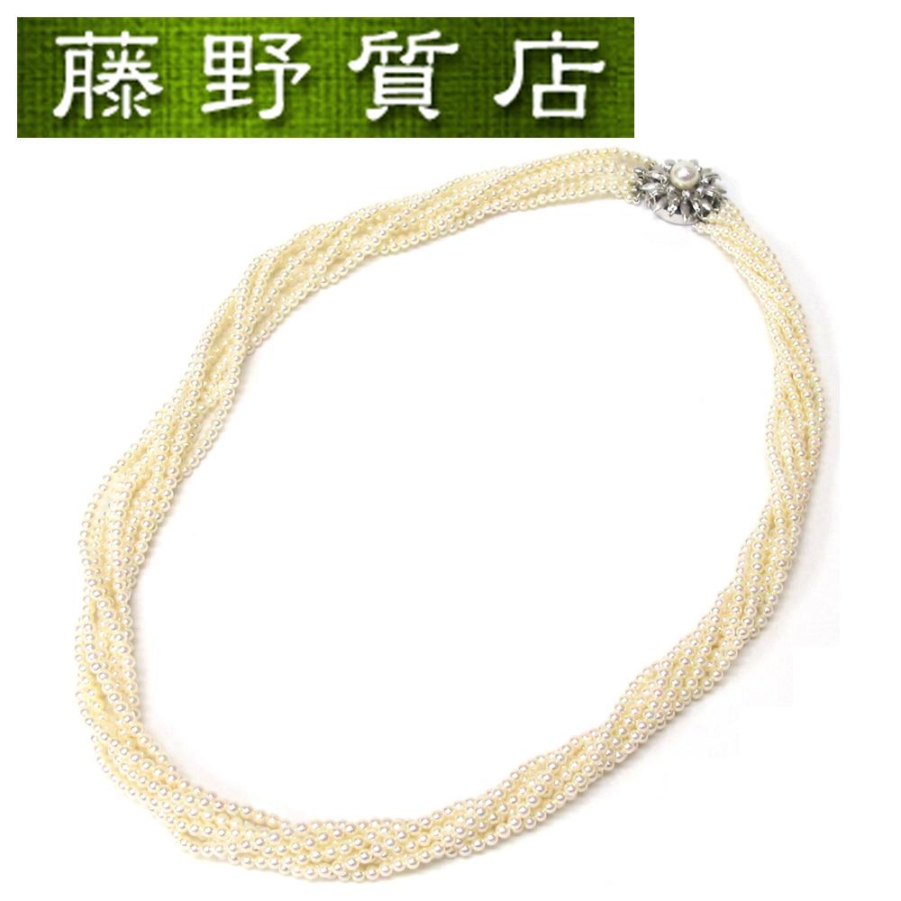 【中古】【新品仕上げ済】ミキモト MIKIMOTO 8連パールネックレス K14WG ダイヤ 糸交換済 8481