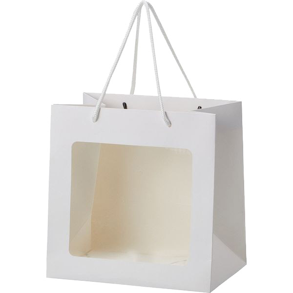 対象のソープフラワーと一緒にご購入ください 即出荷 手提げ袋 窓付きペーパーバッグ M 紙袋 ペーパーバッグ 22×15×H22cm 大規模セール