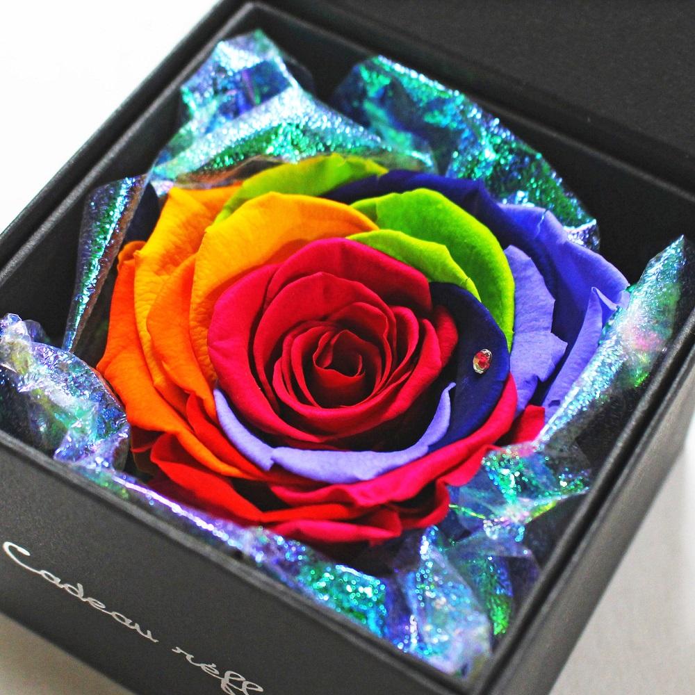 虹色のプリザーブドフラワー 六色の枯れない薔薇 レインボー プリザーブドフラワー ボックス 純正スワロフスキー オーロララッピング付き バラ 記念日 虹色 プレゼント 誕生日 超人気 ギフト 8.4×8.4×H6cm ラッピング無料 薔薇