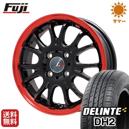 今がお得! 送料無料 165/55R15 15インチ サマータイヤ ホイール4本セット LEHRMEISTER レアマイスター ヴァッサーノ(ブラック/レッドクリア) 4.5J 4.50-15 DELINTE デリンテ DH2(限定)