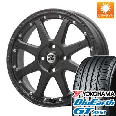 【取付対象】 送料無料 165/55R15 15インチ サマータイヤ ホイール4本セット MLJ エクストリームJ 4.5J 4.50-15 YOKOHAMA ブルーアース GT AE51