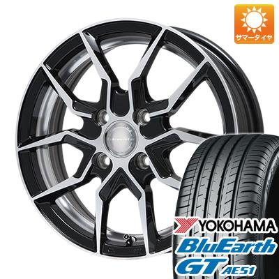 今がお得! 送料無料 185/55R16 16インチ サマータイヤ ホイール4本セット LEHRMEISTER レアマイスター サフレディ(ブラックポリッシュ) 6.5J 6.50-16 YOKOHAMA ブルーアース GT AE51
