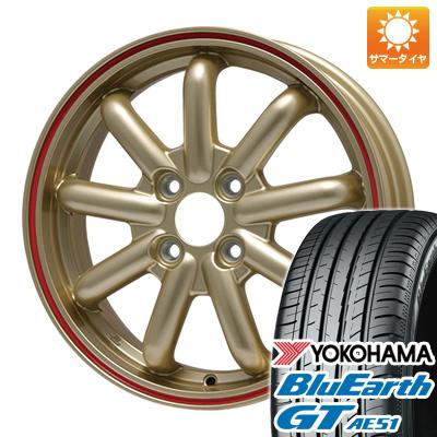 今がお得! 送料無料 155/65R14 14インチ サマータイヤ ホイール4本セット BRANDLE-LINE ブランドルライン ストレンジャーKST-9 (ゴールド/レッドライン) 4.5J 4.50-14 YOKOHAMA ブルーアース GT AE51