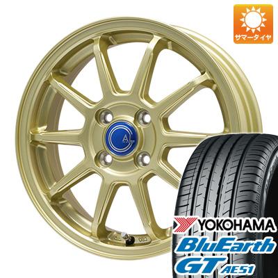 今がお得! 送料無料 155/65R14 14インチ サマータイヤ ホイール4本セット BRANDLE-LINE ブランドルライン カルッシャー ゴールド 4.5J 4.50-14 YOKOHAMA ブルーアース GT AE51