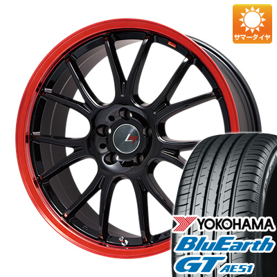 今がお得! 送料無料 205/50R17 17インチ サマータイヤ ホイール4本セット LEHRMEISTER レアマイスター ヴァッサーノ(ブラック/レッドクリア) 7J 7.00-17 YOKOHAMA ブルーアース GT AE51