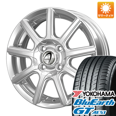 今がお得! 送料無料 185/55R15 15インチ サマータイヤ ホイール4本セット TECHNOPIA テクノピア アルテミス NS9 5.5J 5.50-15 YOKOHAMA ブルーアース GT AE51