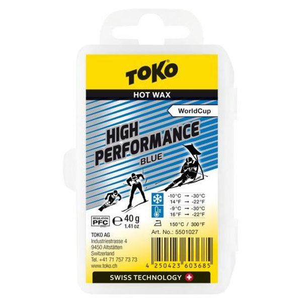 【クロスカントリースキー店舗】 トコ TOKO ワックス WAX スキー スノーボード フッ素高含有 ハイフッ素 ハイパフォーマンス ブルー 40g 5501027
