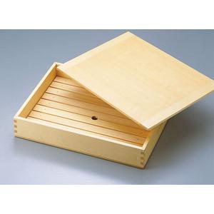 木製「ネタ箱」中〈35584〉目皿・木製蓋付(抗菌)寿司ネタや刺身に
