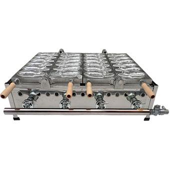【日本製ガス式たい焼き機】マルエフ 鯛焼き器 2連式 (12匹)プロパンガス用