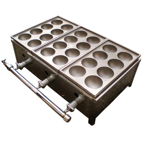 【業務用】8穴×2連スーパージャンボたこ焼き器ガス器具付