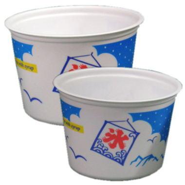 大・小2種類のカキ氷用カップ。大人からお子さんまでサイズが選べます かき氷カップポリエチレン製カップ小 1箱(2000個入)
