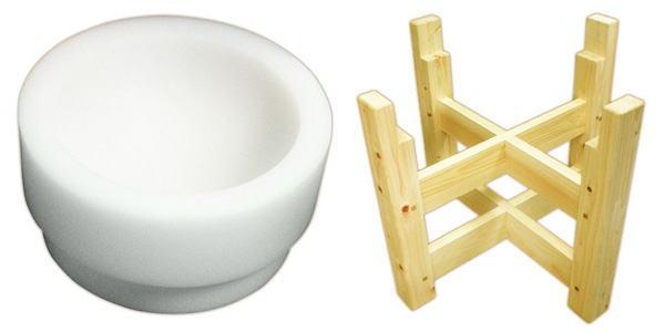 【もちつき道具】プラスチック臼 500(木台付)3~4升用