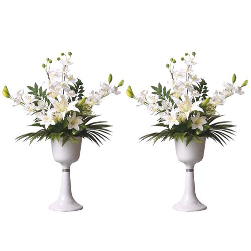 盆提灯 盆ちょうちん 花飾り 『 シルク盛花 白 高さ88cm(一対)』