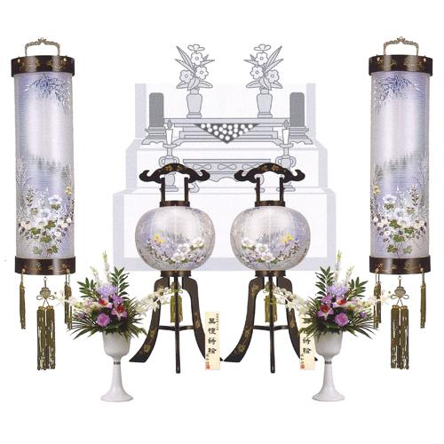 盆提灯 盆ちょうちん 初盆 新盆 『八女提灯セットI(紫香 黒檀蒔絵 二重絹張り)』10寸の住吉提灯(吊り提灯)と尺二(12号)の大内行灯(置き提灯)、シルク盛花(彩)各1対ずつの6点セットです。