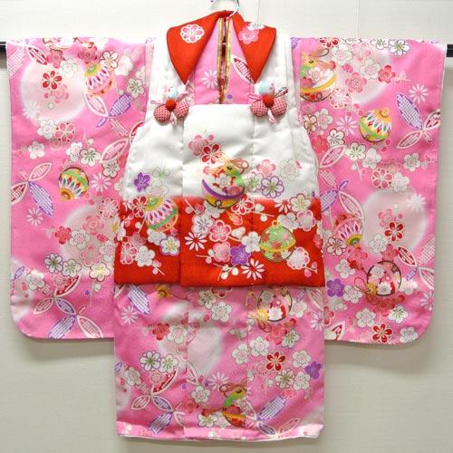 七五三 753 祝着 着物 3歳 女の子 フルセット『花うさぎ 白・ピンク』