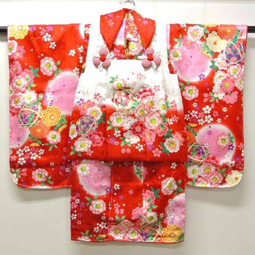 七五三 753 祝着 着物 3歳 女の子 フルセット『花うさぎ 正絹 白・赤』