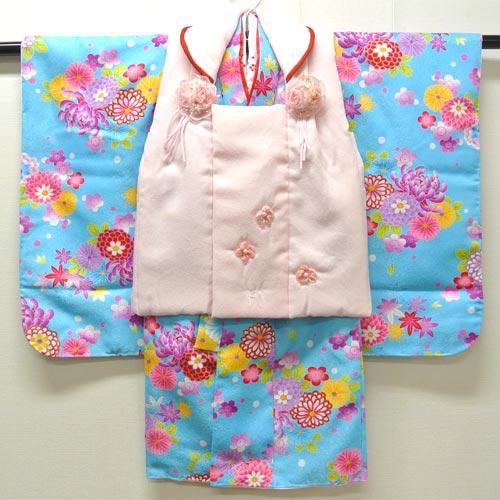 七五三祝い着 被布フルセット 3歳用 女の子『花咲 ピンク・水色』