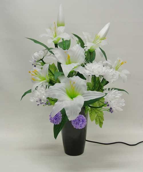 盆提灯 盆ちょうちん 花飾り 造花 初盆 新盆 『ラージルミナス 百合LED 1個 高さ60cm』