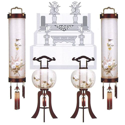 盆提灯 盆ちょうちん 八女提灯セットA(京花 桜 一重絹張り)8寸の住吉提灯(吊り提灯)と尺一(11号)の大内行灯(置き提灯)、各1対ずつの4点セットです。