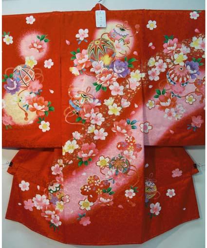 お宮参り 着物 祝着 新品 女の子 正絹 赤色系『鈴 まり柄』