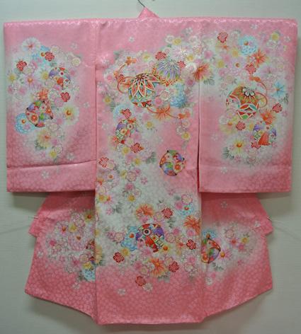 お宮参り 着物 祝着 新品 女の子 正絹 ピンク系『八坂 まり柄』