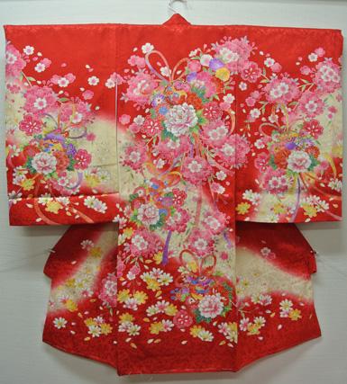 お宮参り 着物 祝着 新品 女の子 正絹 赤色系『薫 まりと芍薬(しゃくやく)柄』