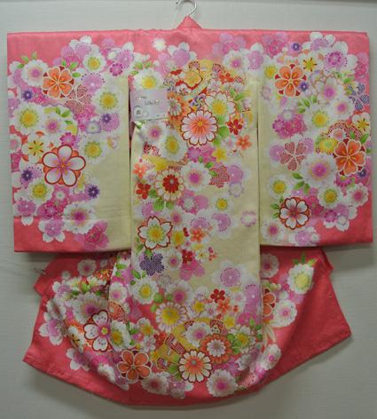 お宮参り 着物 祝着 新品 女の子 正絹 ピンク系『小諸 菊とまり柄』