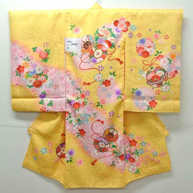 お宮参り 着物 祝着 新品 女の子 正絹 黄色系『若狭 鼓柄』