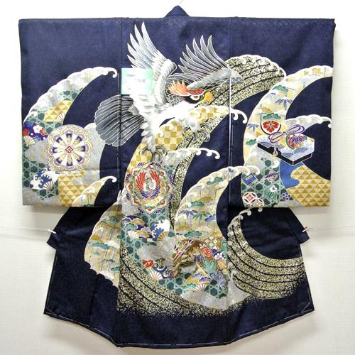 お宮参り 着物 祝着 新品 男の子 正絹 紺色系『長崎 鷹柄』