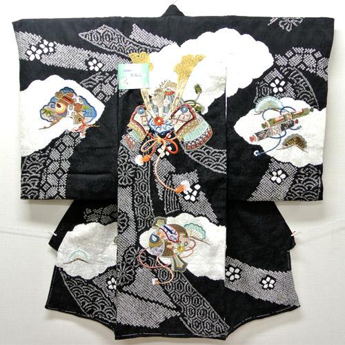 お宮参り 着物 祝着 新品 男の子 正絹 黒色系 絞り『帝 兜柄』