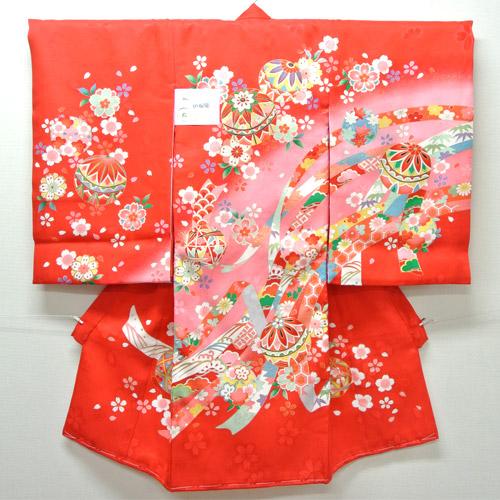 お宮参り 着物 祝着 新品 女の子 正絹 赤色系『梅 花雪輪柄』