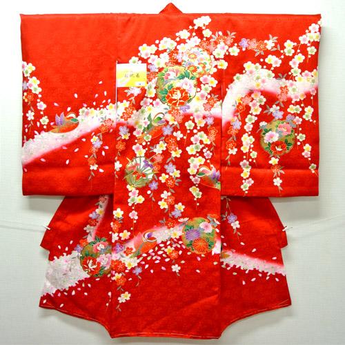 お宮参り 着物 祝着 新品 女の子 正絹 赤色系『梅 まり柄』