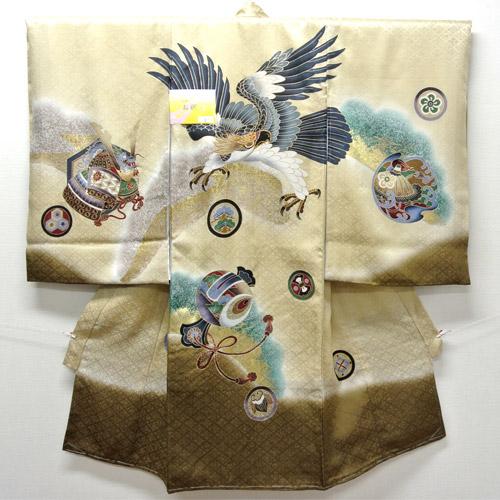 お宮参り 着物 祝着 新品 男の子 正絹 金茶色系『松 鷹柄』