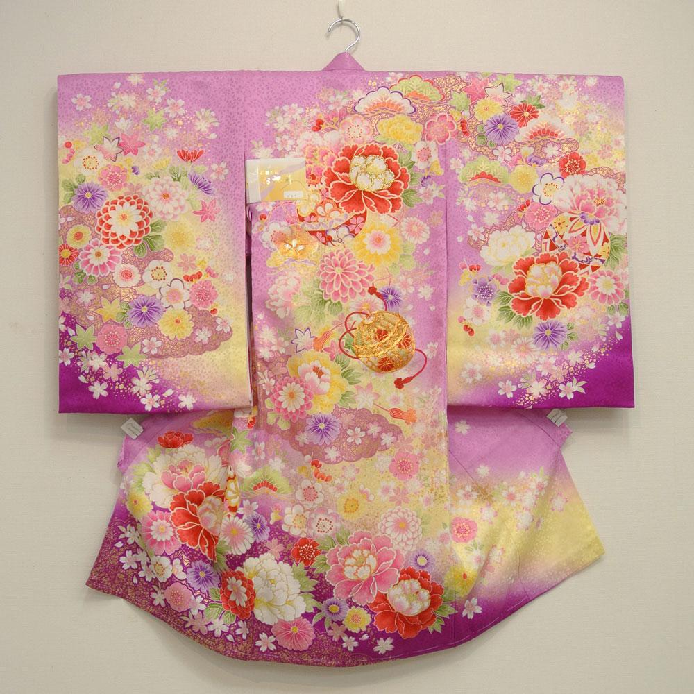 お宮参り 着物 祝着 新品 女の子 正絹 紫色系『かえで』
