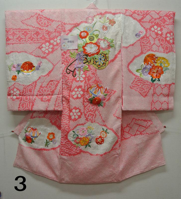 お宮参り 着物 祝着 新品 女の子 正絹 ピンク色系 『白雲 絞り ピンク』