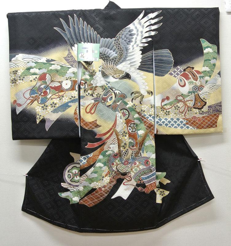 お宮参り 着物 祝着 新品 男の子 正絹 黒色系『海 鷹柄』