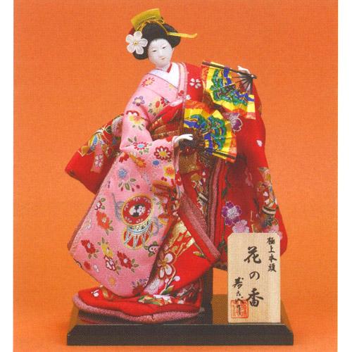 日本人形 尾山人形 正絹 極上本頭『寿喜代作 花の香 正絹 扇 5号』