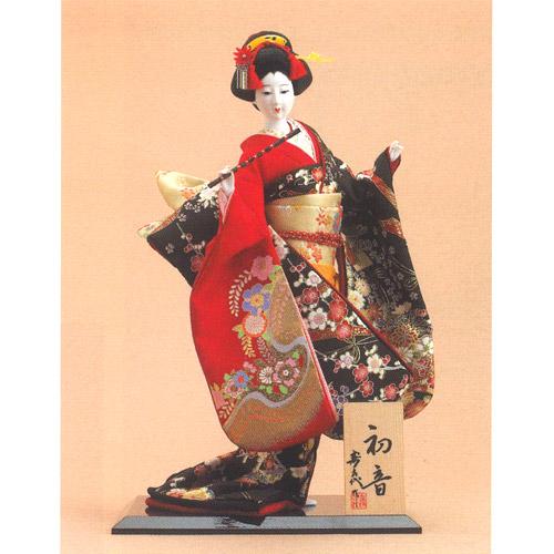 日本人形 尾山人形『寿喜代作 初音 衣裳金彩 笛 10号』